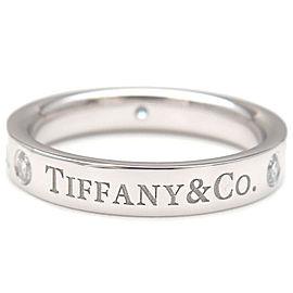 Authentic Tiffany&Co. Flat Band 3P Diamond Ring Platinum US4 HK8.5 EU47 Used F/S