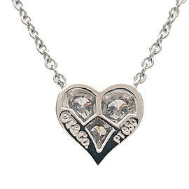Authentic Tiffany&Co. Sentimental Heart 3P Diamond Necklace Platinum Used F/S