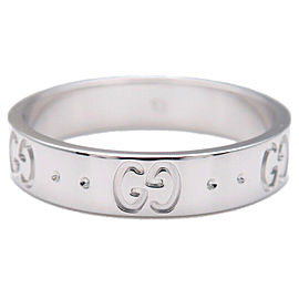 Authentic GUCCI ICON Ring K18 750WG White Gold #13 US6-6.5 HK14 EU53 Used F/S