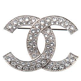 Authentic CHANEL Coco Mark Rhinestone Brooch Silver C20S Used F/S