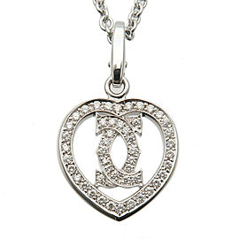 Authentic Cartier 2C Heart Diamond Charm Necklace K18 750WG White Gold Used F/S