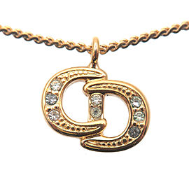 Authentic Christian Dior CD Logo Rhine Stone Necklace Penadant Gold Used F/S