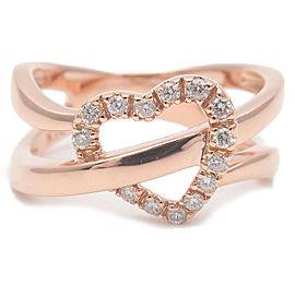 Authentic VENDOME AOYAMA Heart Diamond Ring 0.11ct Rose Gold US5 EU49.5 Used F/S