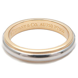 Authentic Tiffany&Co. Milgrain Band Ring Platinum Yellow Gold US5 EU49 Used F/S