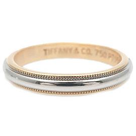 Auth Tiffany&Co. Milgrain Band Ring Yellow Gold Platinum US8.5 EU58 Used F/S