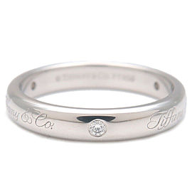 Authentic Tiffany&Co. Notes Lucida 3P Diamond Ring Platinum US4.5 EU48 Used F/S