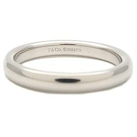 Authentic Tiffany&Co. Classic Band Ring PT950 Platinum US6 HK13 EU52 Used F/S