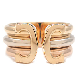 Authentic Cartier 2C Ring LM Three Color K18 YG/WG/PG #51 US5.5 EU51.5 Used F/S