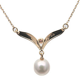 Authentic MIKIMOTO Pearl Diamond Necklace Pendant 7.0mm K18 Yellow Gold Used F/S