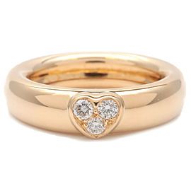 Auth Tiffany&Co. Friendship Ring 3P Diamond K18YG Yellow Gold US5.5 Used F/S