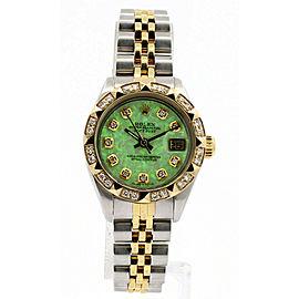 Ladies ROLEX Oyster Perpetual Steel Datejust 26mm GREEN OPAL Dial Diamonds Watch