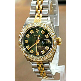 Ladies ROLEX Oyster Perpetual Steel Datejust 26mm SHINY GREEN Dial Diamond Watch