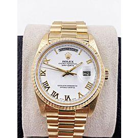 Rolex President Day Date 18038 White Roman Dial 18K Yellow Gold