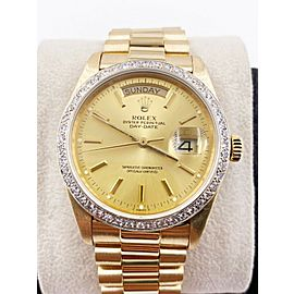 Rolex President Day Date 18038 Champagne Dial Diamond Bezel 18K Yellow Gold