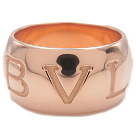 Authentic BVLGARI Mono Logo Ring K18 Rose Gold #50 US5-5.5 HK11 EU50 Used F/S