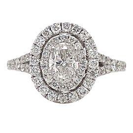 NEIL LANE 1 tcw Oval Diamond Double Halo Engagement Ring 14 kt White Gold