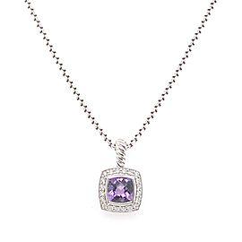 David Yurman Petite Albion Pendant Necklace with Amethyst and Diamonds SS