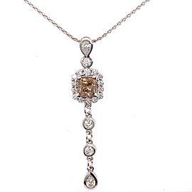 Custom Designed Cognac Fancy Dark Orangey Brown Cushion Diamond Pendant Necklace