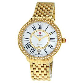 Michele Serein MW21B01B0963 Ladies Diamond Gold MOP Steel Date 36MM Quartz Watch