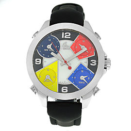 Jacob & Co. Five 5 Time Zone JCM-4 Stainless Steel 40MM Watch Black Strap