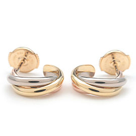 Authentic Cartier Trinity Earrings K18 750 Yellow White Rose Gold Used F/S