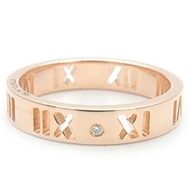 Auth Tiffany&Co. Pierced Atlas 4P Diamond Ring Rose Gold US4.5 HK9 EU48 Used F/S