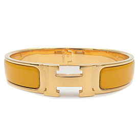 Authentic HERMES Clic Clac PM H Logo Bangle Bracelet Gold Yellow Used F/S