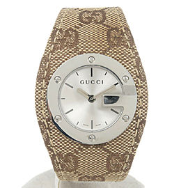 Authentic Gucci G Bandeau Women's Watch Wristwatch SS/QZ/GG Canvas Used F/S