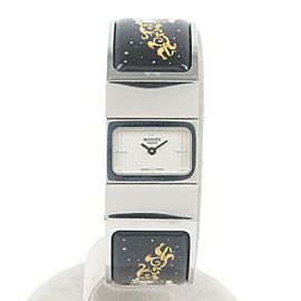 Auth HERMES Loquet Ladies Bangle Watch Silver Black L01.210 L01.110 Used F/S