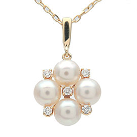 Authentic MIKIMOTO 4P Pearl 5P Diamond Necklace K18YG 750YG Yellow Gold Used F/S