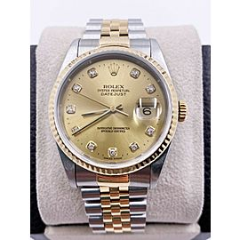 Rolex Datejust 16233 Champagne Diamond Dial 18K Yellow Gold Stainless Steel