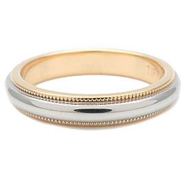 Auth Tiffany&Co. Milgrain Band Ring Platinum Yellow Gold US5.5 EU51 Used F/S