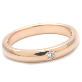 Authentic Tiffany&Co. Stacking Band Ring 1P Diamond Rose Gold US4-4.5 Used F/S