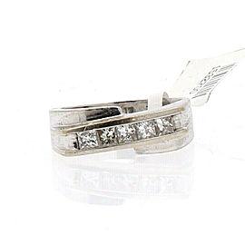 Fine Estate 14k White Gold 1ct Princess Cut Diamond Men's Ring 10.4g Size 8.5