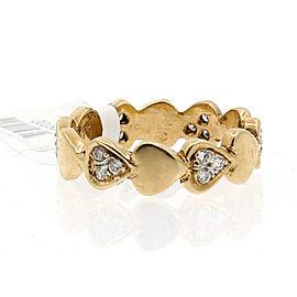 Estate 14k Yellow gold Hearts Diamonds Ladies Ring Size 7