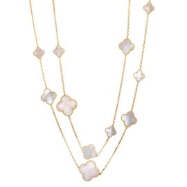 Van Cleef & Arpels Magic Alhambra 18K Yellow Gold with White Mother of Pearl 16 Motif Necklace