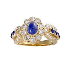 Graff 18K Yellow Gold 1.65ctw Sapphire and 1.20ctw Diamond Floral Band Ring Size 6.75