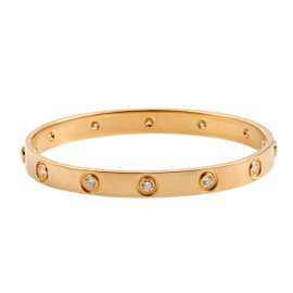 Cartier Love 18K Yellow Gold with 0.96ct Diamond Bracelet Size 16