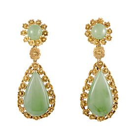 18K Yellow Gold with Green Jade Teardrop Dangle Earrings