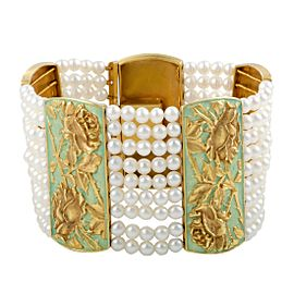 18K Yellow Gold & Enamel with White Cultured Pearls Floral Bracelet