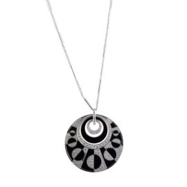 Bulgari Intrasio 18K White Gold Diamond and Onyx Large Pendant Necklace