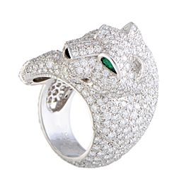 Cartier Panthere 18K White Gold Onyx, Emerald and Diamond Ring Size 6.75