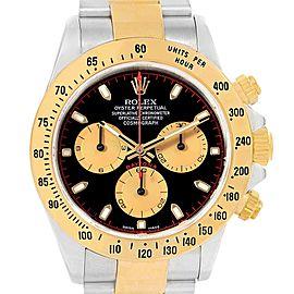 Rolex Daytona Black Dial Steel Yellow Gold Watch 116523 Box