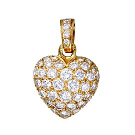 Cartier Heart Pendant 18K Yellow Gold Pave Diamond