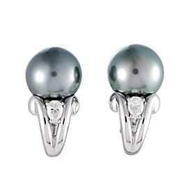 Mikimoto 18K White Gold Diamond and 11.0-12.0mm Black Pearl Earrings