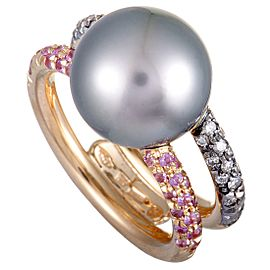 Mikimoto 18K Rose Gold Grey Diamond, Pink Sapphire, and 12.0-13.0mm Black Pearl Ring