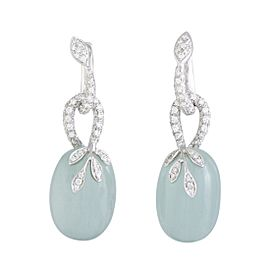 Mikimoto 18K White Gold Diamond and Aquamarine Dangle Earrings