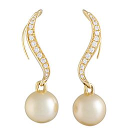 Mikimoto 18K Yellow Gold Diamond and 11.0-12.0mm Golden Pearl Dangle Earrings
