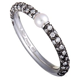 Mikimoto 18K White Gold and Black Rhodium Diamond and 3.0-3.5mm Akoya Pearl Band Ring