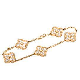 Van Cleef & Arpels Vintage Alhambra 18K Yellow Gold Diamond 5 Motif Bracelet
